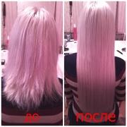 кератиновое выпрямление, наращивание волос.