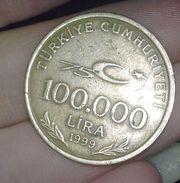 Монета 100. 000 лира 1999 г турецкая